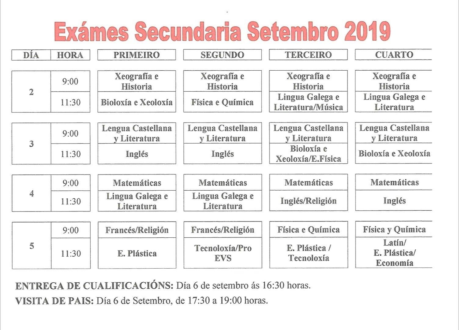 Calendario De Examenes.Calendario Examenes Septiembre Colegio Sagrado Corazon Mercedarias